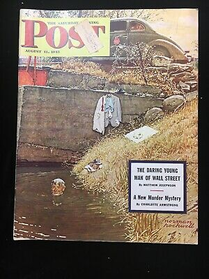 $ CDN31.79 • Buy Saturday Evening Post August 11 1945 Norman Rockwell Skinny Dipping  WW2 Era