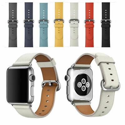 $ CDN13.72 • Buy Premium Leather Strap Wrist Bands For Apple Watch  Band 38mm 44mm Series 4 3 2