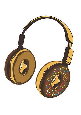 Womens Sweatshirt  Donut Headphones Tasty Beats • 22.99£