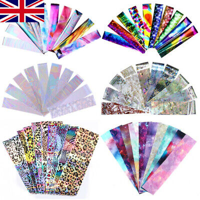Holographics Nail Foils Wraps Transfer Stickers Glitter Lace Paper Decals Tips • 2.99£