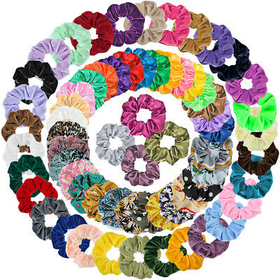 $13.78 • Buy 65Pcs Elastic HairBands Satin Bobbles Ties Scrunchies Ropes Soft Velvet Chiffon