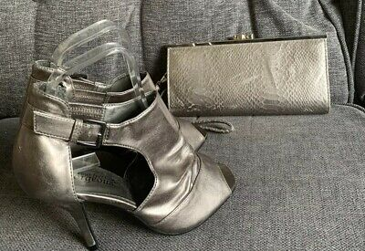 New Look Ladies Shoes 5 Bag Pewter High Heels Party Peep Toe Going Out Clubbing • 14.99£