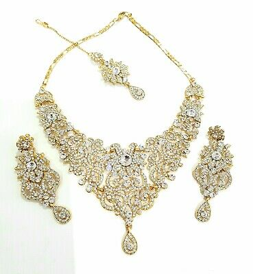 £17.99 • Buy Indian Bollywood Asian Gold Diamond Necklace Set With Earrings And Tikka