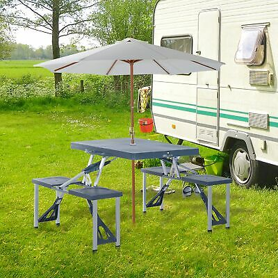 £34.99 • Buy Outsunny Folding Picnic Table Chair Set Camping Aluminium Frame W/ Suitcase