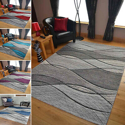 Modern Grey Rug Stair Hallway Runner Large Small Living Room Wave Mat UK Cheap • 29.95£