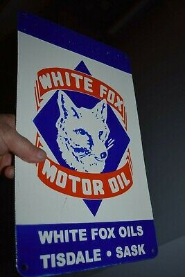$ CDN240.57 • Buy Porcelain WHITE FOX OIL Sign Fantasy Tisdale Saskatchewan