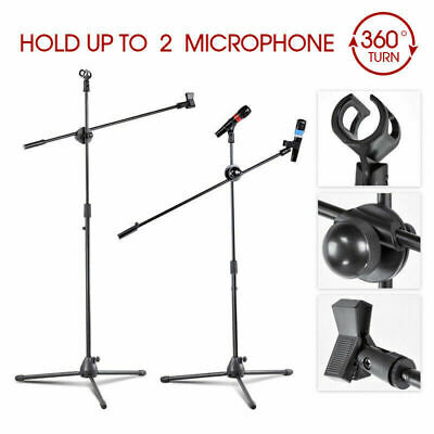 2X Adjustable PRO Microphone Triple Stand Boom Arm Holder Firm Clip Bar Holder • 15.99£