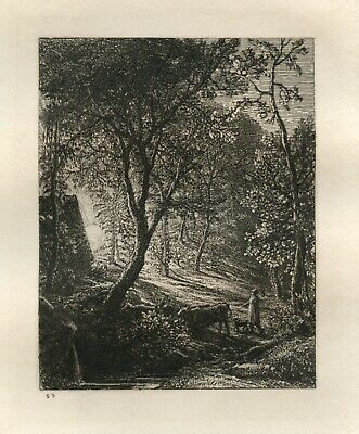 Samuel Palmer Original Etching - Sunset Printed In 1880 • 668£