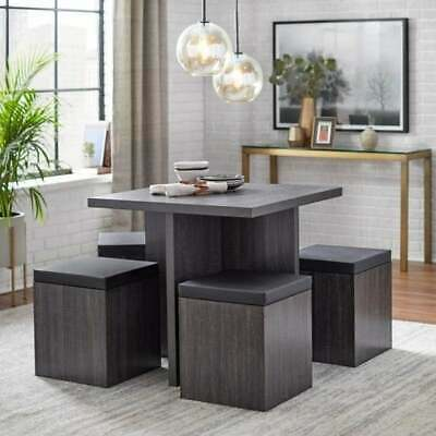 $289.77 • Buy Dining Set Table With 4 Storage Ottomans 5 Piece Dining Set Black Weathered Fin