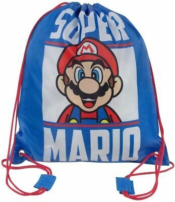 SUPER MARIO Drawstring Gym Bag Licensed School Bag 37cm • 6.99£
