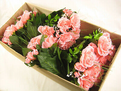 6x Wholesale Artificial Flowers Pink Dew Drop Rose Bush With Gypso Onion Grass • 22.99£