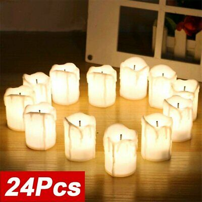 24PCS Church Pillar Battery Operated Flameless LED Real Wax Candles Tea Lights • 9.89£