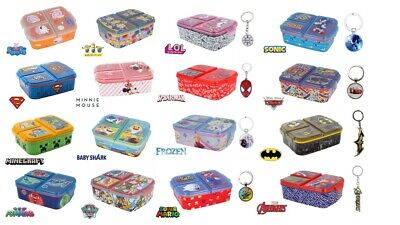 Kids Character Multi Compartment Sandwich Lunch Box Food Fruit Snacks  • 12.99£