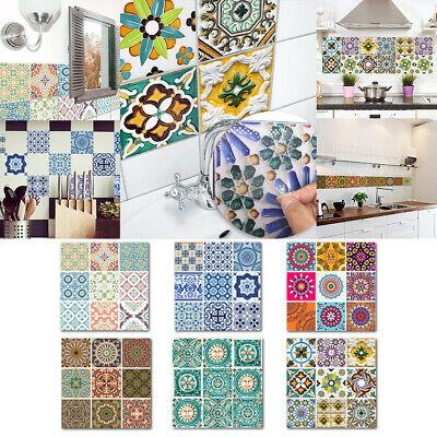 10Pcs Moroccan Wall Stickers Kitchen Decor Self-Adhesive Mosaic Tiles Waterproof • 8.95£