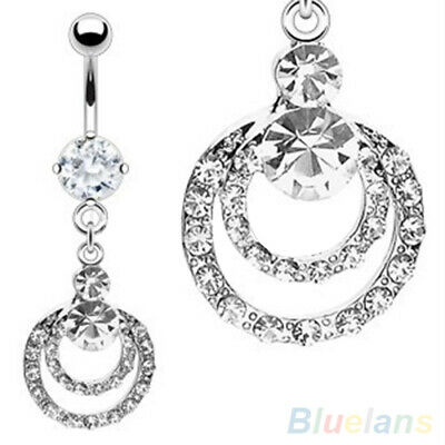 Belly Button Bars Belly Bar Crystal Dangly Reverse Rings Top Drop Navel Faddish • 2.34£