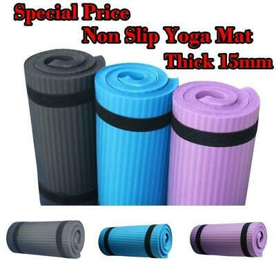 AU10.89 • Buy 60*25CM 15mm Thick Yoga Mat Gym  Exercise Fitness Pilates Non Slip Workout Mats