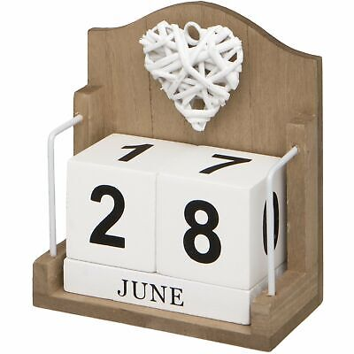 £7.99 • Buy White Woven Heart On Trend Wooden Perpetual Desk Calendar Suitable For Home Offi