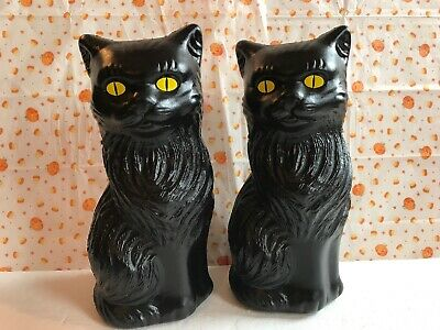 """$12.99 • Buy Blow Mold Halloween Black Cats Decoration Yellow Eyes Union Products  Pair 11"""""""