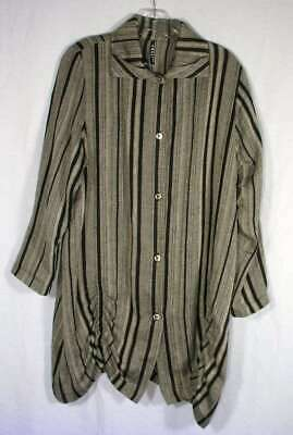 $27.65 • Buy ITEMZ Chris Baumgartner One Size O/S Striped Ruched Art Wear Tunic Top