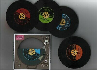 Coasters * Set Of 4 * Vinyl Records Design * Silicone • 2.50£