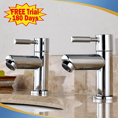 £19.98 • Buy Pair Modern Twin Basin Sink Hot & Cold Taps Chrome Bathroom Waterfall Faucet