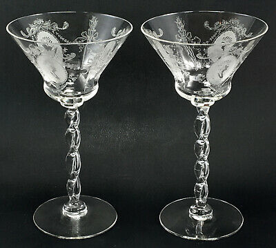 "$9.95 • Buy  1920's-1930's  Morgantown ""Elizabeth"" Etched  Queen Anne Line Champagne Glasses"
