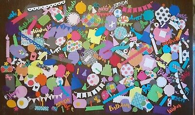 $9 • Buy Die Cut Shapes Lot 250+ BIRTHDAY Cardstock Scrapbook Paper, Sizzix, Cuts Crafts