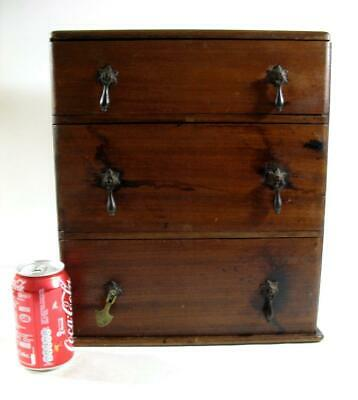 Vintage Wooden Collectors Chest Of 3 Drawers  Tool Box • 85£
