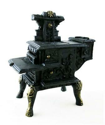 Dolls House Black Wood Stove Cooker Miniature Old Fashioned Kitchen Furniture  • 13.99£