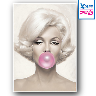A3 A4 Marylin Monroe Pink Bubble Gum Actress Wall Art Large Poster Print Picture • 7.99£