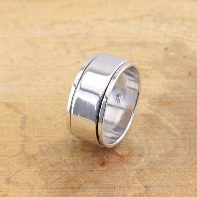Mens Womens Plain Wide 925 Sterling Silver Spinning Thumb Finger Band Ring 11mm • 25.95£