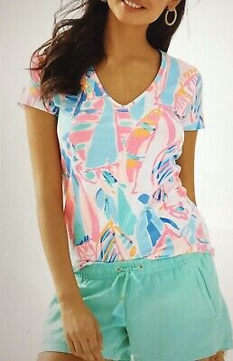 $24 • Buy Lilly Pulitzer Stretch Sailboats V Neck Short Sleeve Tee Shirt Top Sz L