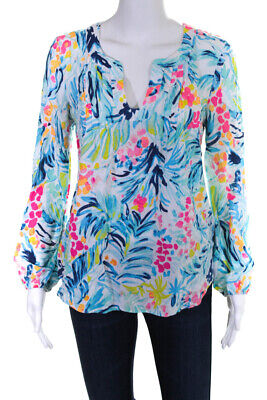 $29.99 • Buy Lilly Pulitzer Womens Long Sleeve Watercolor Floral Print Blouse Blue Size Small