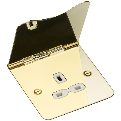 Knightsbridge 13A 1G Unswitched Socket Floor Polished Brass/White Insert • 16.42£