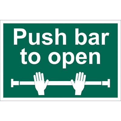 £13.16 • Buy Draper Push Bar To Open Self Adhesive Safety Sign Notice Green And White