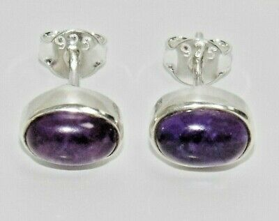 925 Sterling Silver Amethyst Cabochon Stud Earrings ~ • 8.05£