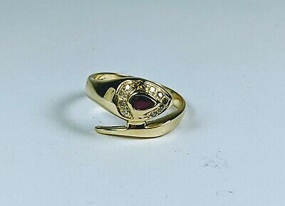 $122.50 • Buy SOLID GOLD 18KT Yellow Gold Natural Ruby & Diamond Snake Ring Sz 6