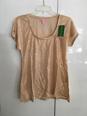 $29.99 • Buy LILLY PULITZER INARA SAND DUNE METALLIC GOLD Top Women Size L  New