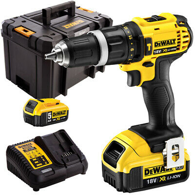 Dewalt DCD785P2 18V Compact Combi Drill With 2 X 5.0Ah Batteries Charger In Case • 219£