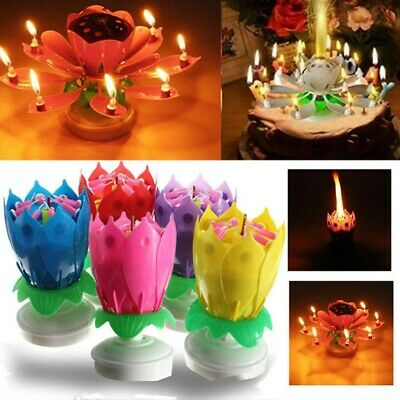 $ CDN7.95 • Buy 2 Layers Lotus Musical Birthday Candle Blossoming Rotating Candle Cake Topper