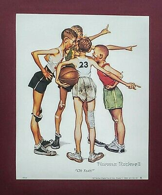 $ CDN10.99 • Buy Art Print,  Oh Yeah  1951, Aka Four Sporting Boys By Norman Rockwell, Size 8x10