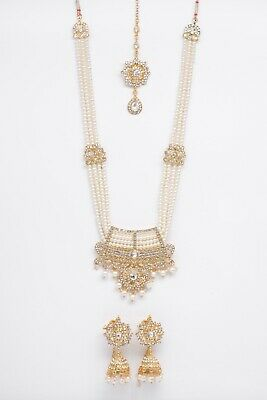 Indian Bollywood Jewellery Set Gold & Pearl With Matching Tikka And Earrings • 14.99£