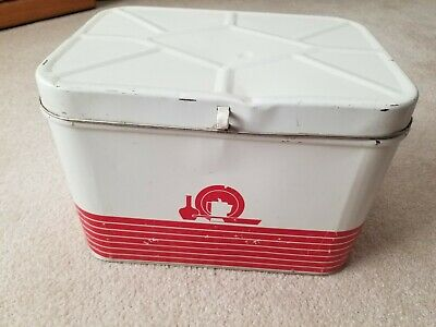 $46 • Buy Vintage Decoware Retro Red & White  Metal Tin Hinged Lid Bread Box