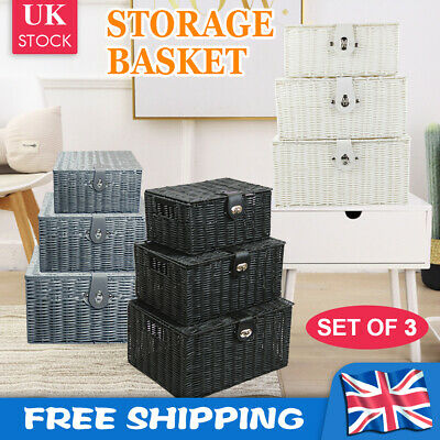 SET OF 3 Storage Baskets Resin Wicker Woven Hamper Box Lid & Lock Stackable UK • 14.99£