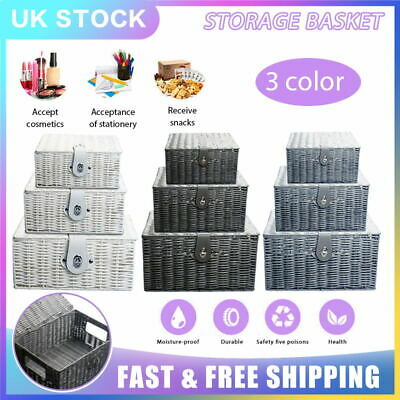 SET OF 3 Storage Baskets Resin Wicker Woven Hamper Box Lid Clasp GIFT UK Durable • 15.99£