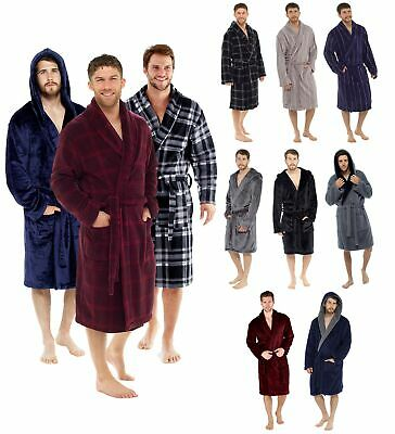 £12.95 • Buy Mens Robes | Dressing Gowns | Warm Fleece Bathrobe | Hooded Robes | Towelling