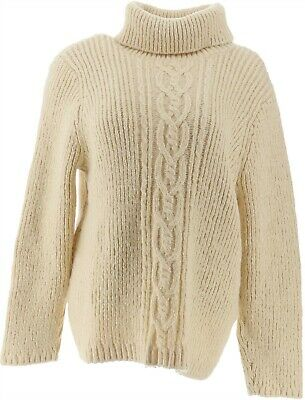 $39.98 • Buy GILI Cable Knit Turtle Neck Sweater Cream XL NEW A311406