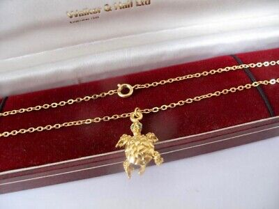 NEW 1970s Vintage 9ct GOLD Plated TURTLE Pendant 17  Trace Chain NECKLACE  5.6g • 5£
