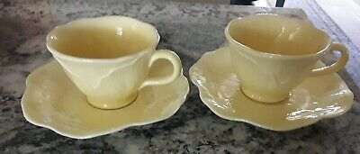 $15.29 • Buy Two Metlox Lotus Yellow Cups & Saucers Pottery Made In California Hand Crafted