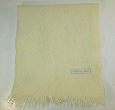 $20 • Buy Christian Dior Vtg Ivory Color 100% Merino Wool Made In Japan Rectangle Scarf